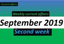 september second week current affairs 2019
