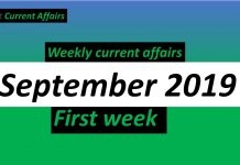 Weekly Current Affairs september 2019