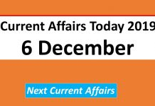 Current Affairs Today 6th December 2019